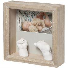 Cadre photo empreinte 3D My Baby Sculpture Bois cérusé  par Baby Art