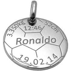 Médaille de naissance football personnalisable (argent 925°)