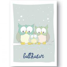 Affiche hibou Family love personnalisable (21 x 29,7 cm)  par Ourson d'Avril