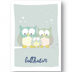 Affiche hibou Family love personnalisable (21 x 29,7 cm)
