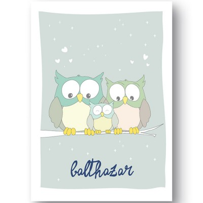 Affiche hibou Family love personnalisable (21 x 29,7 cm)  par Ourson d'Avril