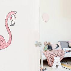 Sticker de porte flamant rose (côté gauche)