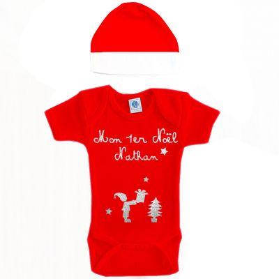 Ensemble body et bonnet Mon premier Noël rouge à manches courtes personnalisable (6-12 mois)