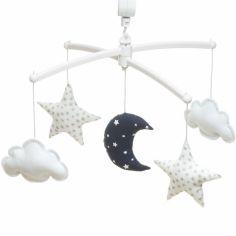 Mobile musical Lune bleu marine (mélodie au choix)