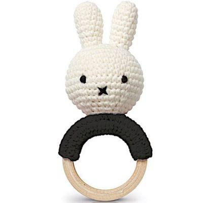 Hochet anneau de dentition Miffy noir  par Just Dutch