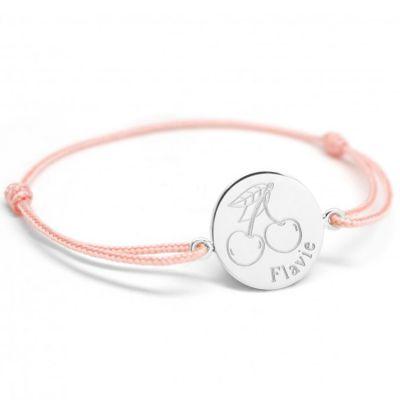 Bracelet cordon Cerise personnalisable (argent 925°)  par Petits trésors