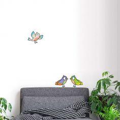Stickers muraux 3 oiseaux bleu, violet, vert