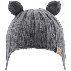 Bonnet en tricot avec oreilles gris (12-18 mois)