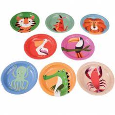 Assiettes en carton Créatures colorées (8 pièces)