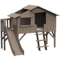 Lit cabane avec toboggan finition laquée (5 coloris au choix)