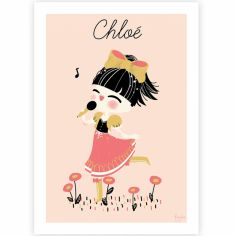 Affiche A4 La petite chanteuse (personnalisable)