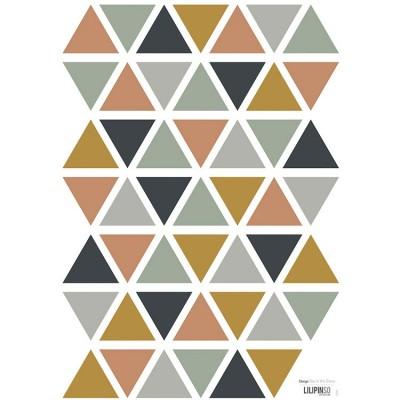 Planche de stickers A3 de triangles gris camel bleu foncé