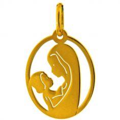 Médaille ovale ajourée Vierge maternité (or jaune 750°)