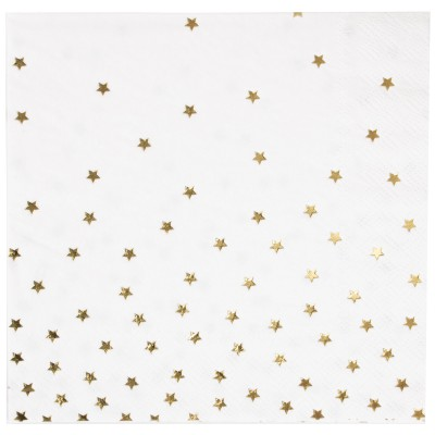 Serviettes en papier étoiles dorées métallisées (16 pièces)  par My Little Day