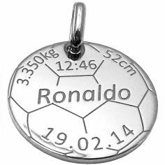 Médaille de naissance football personnalisable (argent 925° rhodié)
