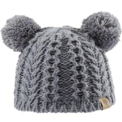 Bonnet en tricot 2 pompons gris (12-18 mois)