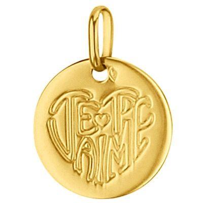 Médaille ronde Je t'aime 14 mm (or jaune 750°)  par Premiers Bijoux