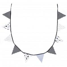 Guirlande décorative fanions en coton noir et blanc