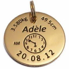 Médaille de naissance ronde (plaqué or jaune)