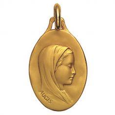 Médaille ovale 20 mm Vierge de profil (or jaune 750°)