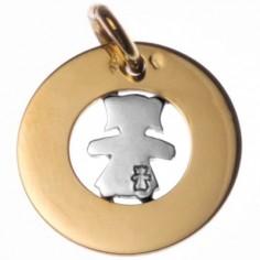 Médaille Bulle petite fille ou petit garçon 20 mm (or jaune 750°, motif or blanc 750°)