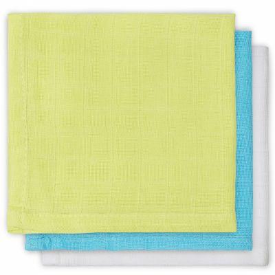 Lot de 3 essuie-mains hydrophiles vert, turquoise, blanc (31 x 31 cm)