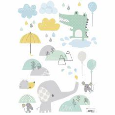 Stickers A3 crocodile et éléphant Smile, it's raining by Dawn Machell (29,7 x 42 cm)