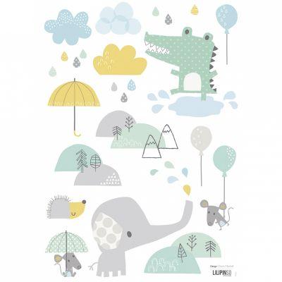Stickers A3 crocodile et éléphant Smile, it's raining by Dawn Machell (29,7 x 42 cm)  par Lilipinso