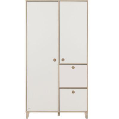 Armoire 2 portes avec 2 tiroirs blancs amovibles Lora  par Galipette