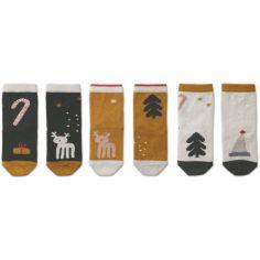Lot de 3 paires de chaussettes Silas Noël kaki et moutarde (12 mois)