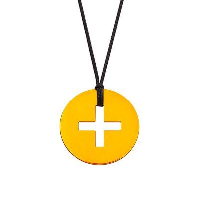 Collier cordon mini bijou croix grecque (or jaune 18 carats)  par Maison La Couronne