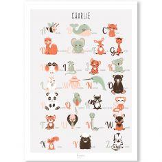 Affiche A3 abécédaire des animaux français (personnalisable)