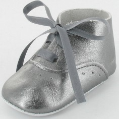 Chaussons bébé Diese en cuir lisse gris (6-12 mois)