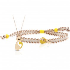 Duo maman enfant Primegioie collier et bracelet Chat (or jaune 375°)