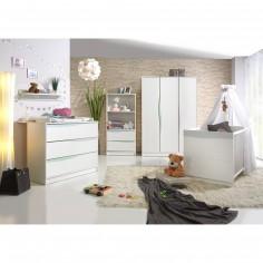 Pack trio lit bébé, commode à langer et  armoire Wave blanc et pastel