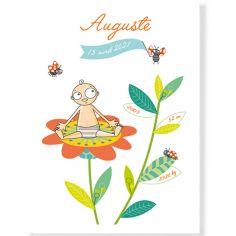 Affiche de naissance garçon fleur personnalisable (21 x 29,7 cm)