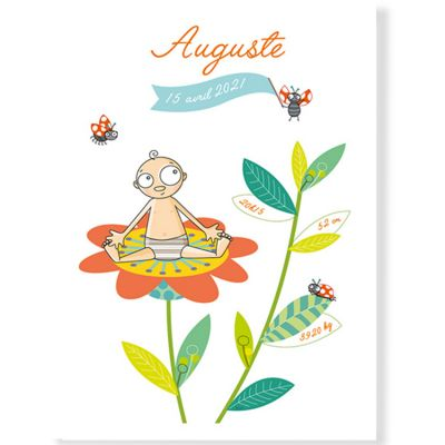 Affiche de naissance garçon fleur personnalisable (21 x 29,7 cm)  par Série-Golo