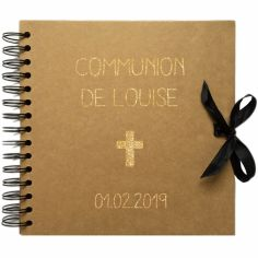 Album photo communion personnalisable kraft et or (20 x 20 cm)