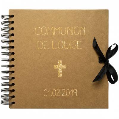 Album photo communion personnalisable kraft et or (20 x 20 cm)  par Les Griottes