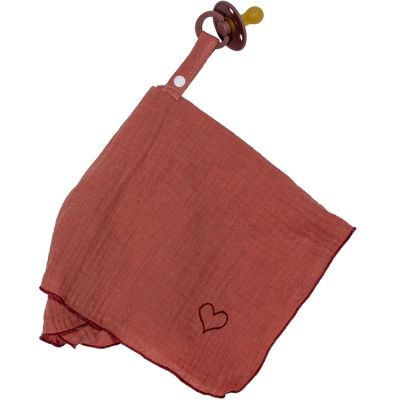 Doudou attache sucette en mousseline marsala BB & Co