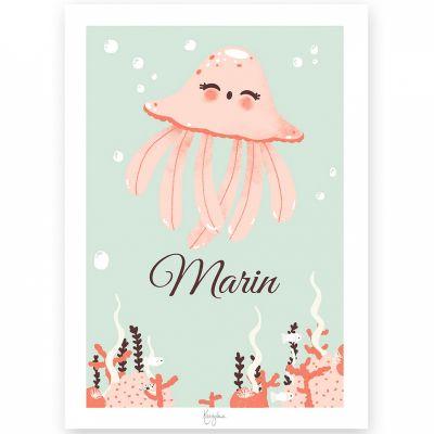 Affiche A4 Les Animignons la méduse (personnalisable)  par Kanzilue