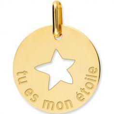 Médaille tu es mon étoile personnalisable (or jaune 375°)