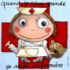 Tableau Quand je serai grande je serai infirmière (30 x 30 cm)