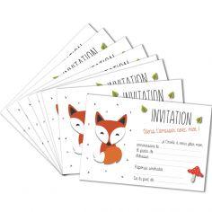 Lot de 8 cartes d'invitation Renard