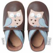 Chaussons bébé cuir Soft soles hibou garçon (3-9 mois) - Bobux