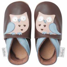 Chaussons bébé cuir Soft soles hibou garçon (3-9 mois)