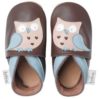Chaussons bébé cuir Soft soles hibou garçon (3-9 mois)  par Bobux