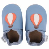 Chaussons en cuir Soft soles bleu montgolfière (9-15 mois) - Bobux