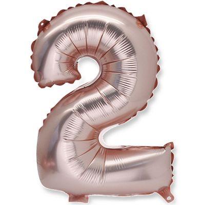 Petit ballon en mylar chiffre 2 rose gold (36 cm)  par Arty Fêtes Factory