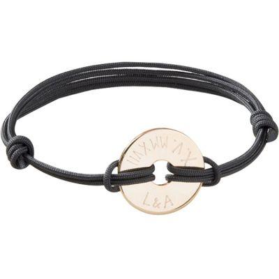Bracelet maman sur cordon Cible personnalisable (plaqué or)  par Merci Maman